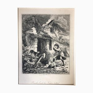 Bowke finds his Father killed - Original Etching by PHIZ - Mid 19th Century Mid 19th Century