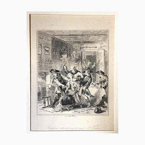Einbrecher versuchen, Mr. Porter zu braten - Radierung von PHIZ - Mitte 19. Jahrhundert Mitte 19. Jahrhundert