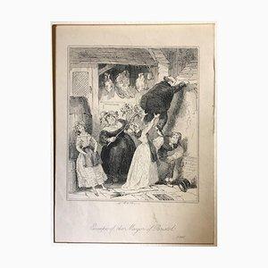 Flucht des Bürgermeisters von Bristol - Radierung von PHIZ - Mitte 19. Jahrhundert Mitte 19. Jahrhundert