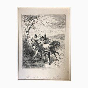 Folling and Armstrong attacking Mr. Fairles- Etching by PHIZ - Mid 19th Century Mid 19th Century