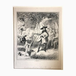 Courtnay Shooting Lieut Bennett - Etching by PHIZ - Mid 19th Century Mid 19th Century