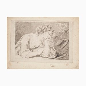 Thinking Woman - Original Etching - 19th Century 19th Century