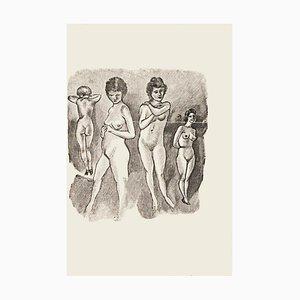 Nude Women - Original Zincography by Mino Maccari - 1970s 1970s
