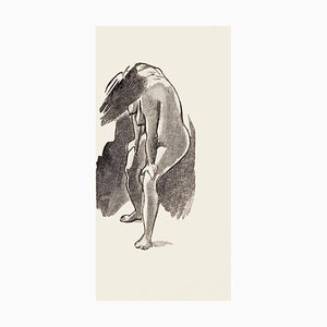 Posing Nude - Original Zincography by Mino Maccari - 1970s 1970s