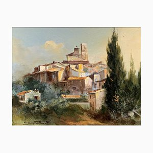 Antique Provencal Village Painting by Raymond Saglietto, Oil on Canvas