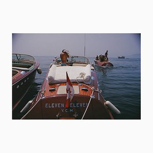 Motorboats in Antibes Oversize C Print Framed in White by Slim Aarons
