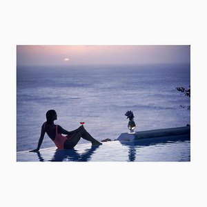 Mustique Tranquility Oversize C Print Framed in White by Slim Aarons
