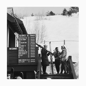 New England Skiing Silver Fibre Gelatin Print Framed in Black by Slim Aarons