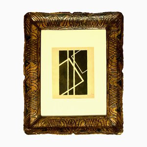 Schwarze Geometrische Komposition - China Tusche Zeichnung von F. Kupka 1950