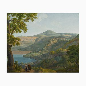 Paysage au Lac Nemi - Huile sur Toile par Franz Knebel - Moitié de 1800 1950 env.