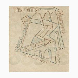 Trient - Bondone Corsa in Salita - Original Zeichnung von Fortunato Depero - 1928 1928