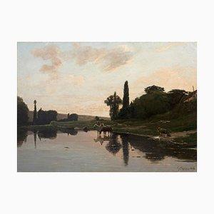 Paisaje con lago - Óleo sobre lienzo de Giuseppe Raggio - 1884 1884
