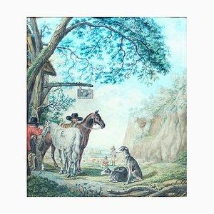 Hunters by Inn-Door - Original Ink and Watercolor by Dirk Maas (attr.) 1700 ca.