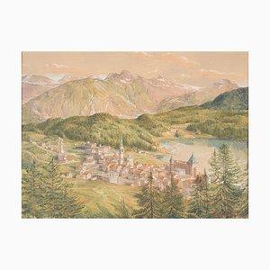 Vue de Sankt Moritz - Aquarelle Originale sur Papier par HB Wieland - 1900/1920 1900-1920