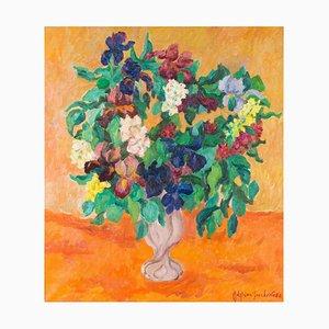 Natura morta con fiori in vaso rosa - Original Oil Painting by A. Pincherle 1982