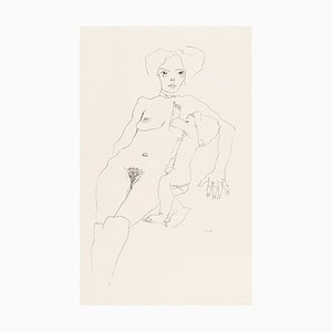 Mother and Child - Original Collotype Print After Egon Schiele - 1920 1920