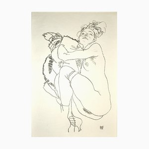 Crouching Nude of Woman - Original Collotype Print After Egon Schiele - 1920 1920