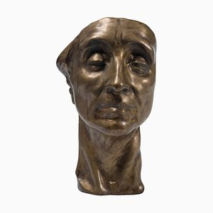 Sculpture Head of Man - Original Bronze par Amedeo Bocchi - 1920s 1920s
