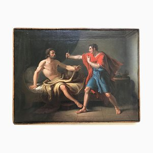 Muzio Scevola und Porsenna - Original Öl auf Leinwand von Gaspare Landi - spätes 17. Jahrhundert, spätes 18. Jahrhundert