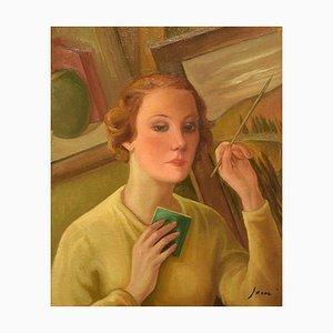 Pittura Portrait of a Woman - Olio su tela di G. Janni - inizio 1900 inizio XX secolo