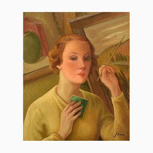 Portrait Of a Woman Painting - Oleo sobre lienzo de G. Janni - principios de 1900 principios del siglo XX