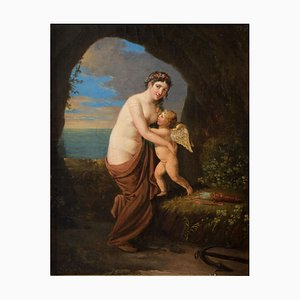 Allegorical Scene, Aphrodite and Eros - Oil on Canvas - Late 18th / Early 19th Late 18 - Early 19th Century