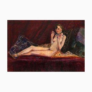 Laying Nude with Blue Lance - Öl auf Leinwand von Antonio Feltrinelli - 1930er 1930er