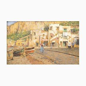Häuser auf Ufern in Capri - Öl an Bord von V. Caprile - frühes 20. Jahrhundert frühes 20. Jahrhundert