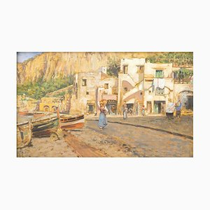 Houses on Shores in Capri - Oil on Board by V. Caprile - Early 20th Century Early 20th Century