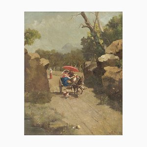 Walking with the Donkey - Oil on Canvas by A. Milone - 1870s 1870s