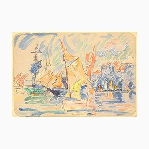 Saint Tropez - Dibujo acuarela original de Paul Signac - 1900 ca. 1900 ca.