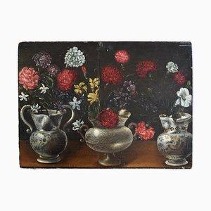 Still Life of Bouquet in Vasen mit zwei Fächern - Öl auf Holz von Vincenzo dé Fiori 1640-1660