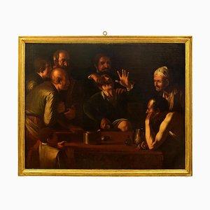 Der Zahnzieher (Il Cavadenti) - Öl auf Leinwand von Verfolger Caravaggio des späten 17. Jahrhunderts