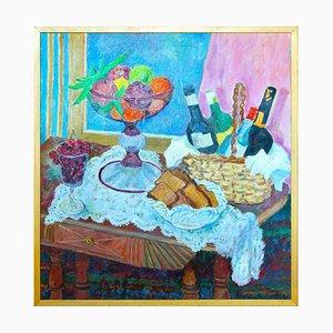 Table Still Life / Set - Peinture à l'Huile Originale par A. Pincherle - 1990 1990