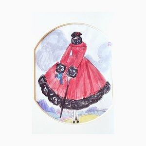 Le Manteau Rouge, Gouache Originale 1920s