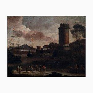 Port View with Tower - Original Oil on Canvas by Adriaen van Der Cabel - 1600 17th Century