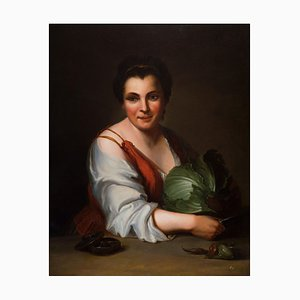 Peasant with Cabbage - Oil on Canvas by French Master 18th Century 18th Century