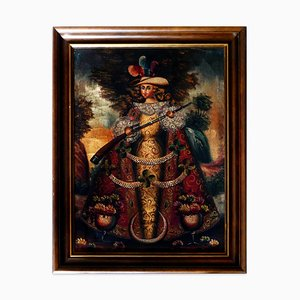 Colección de 5 pinturas de ángeles sudamericanos - Escuela española fines de siglo XIX Fin del siglo XIX