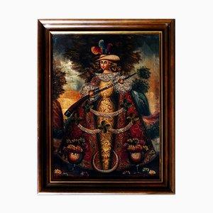 Sammlung von 5 Gemälden südamerikanischer Engel - Spanische Schule Ende 1800 Ende 19. Jh