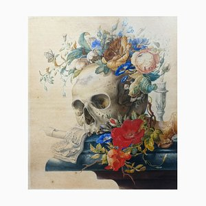 Vanitas still Life - Original Tempera and Watercolor After Herman Henstenburgh Late 18th Century