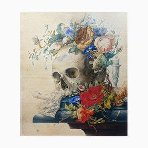 Vanitas still Life - Tempera originale e acquarello di Herman Henstenburgh, fine XVIII secolo