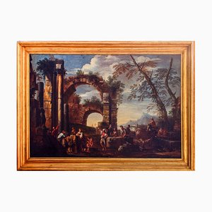 Roman Ruins with Figures - Original Oil On Canvas by Giovanni Ghisolfi Second Half of 17th Century