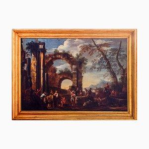 Roman Ruins with Figures - Original Oil on Canvas de Giovanni Ghisolfi Second Second of Century Century