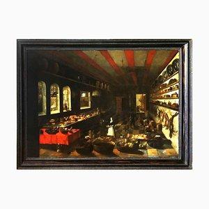 Scène d'Intérieur avec Cuisine - Huile sur Toile Original - 1659 1659