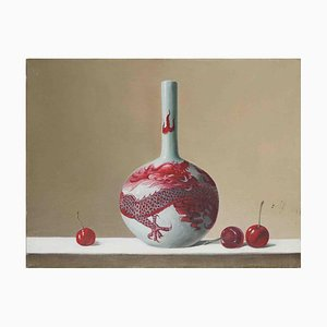 Vase and Cherries - Original Oil on Canvas by Zhang Wei Guang - 2000 ca. 2000