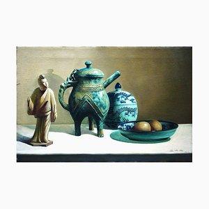 Oggetti d'antiquariato cinesi sul tavolo - Olio originale su tela di Zhang Wei Guang - 2000 2000