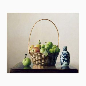 Apples and Ceramic - Original Oil on Canvas by Zhang Wei Guang - 2004 2004