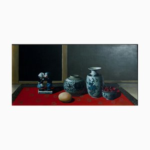 Ceramics, Cherries and Egg - Original Oil on Canvas by Zhang Wei Guang - 2000s 2000s