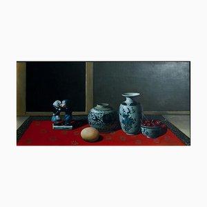 Keramik, Kirschen und Ei - Original Öl auf Leinwand von Zhang Wei Guang - 2000er 2000er
