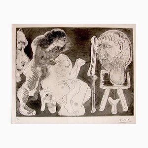 Peintre avec une une sculpture sur une sellette, 1963, une femme nue et un spectateur